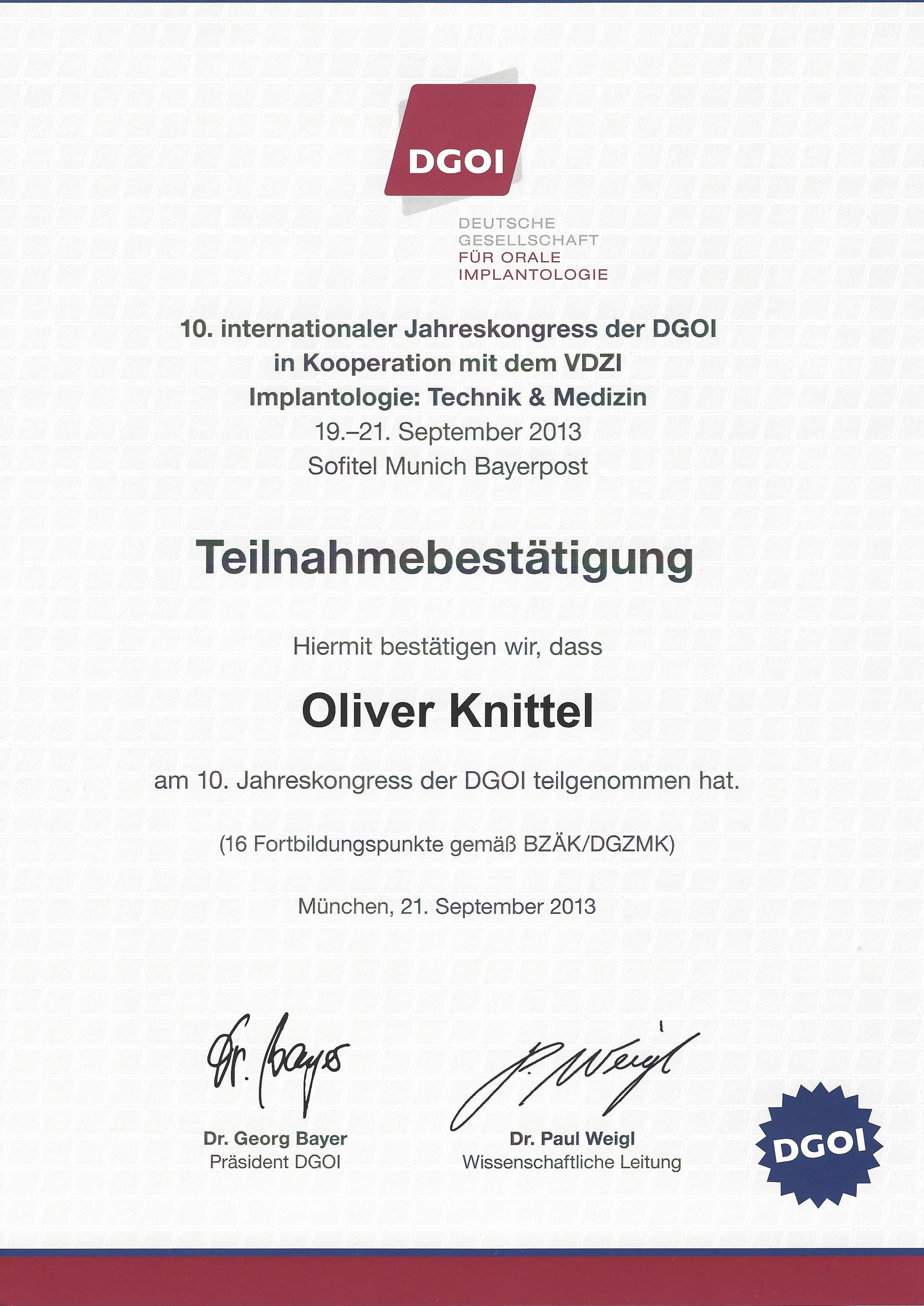 DGOI Jahreskongress Sept. 2013