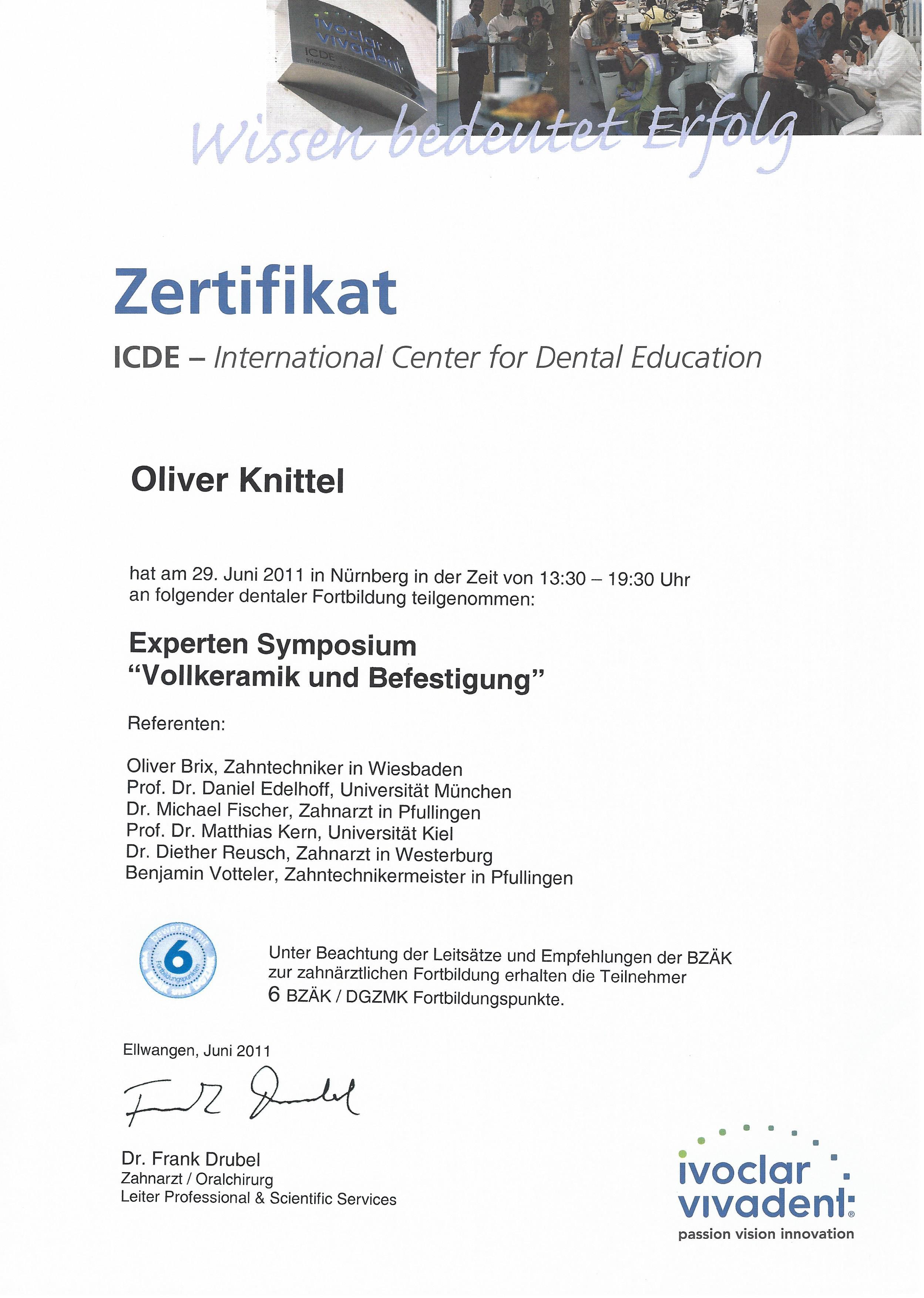 Zertifikat Helmut Knittel
