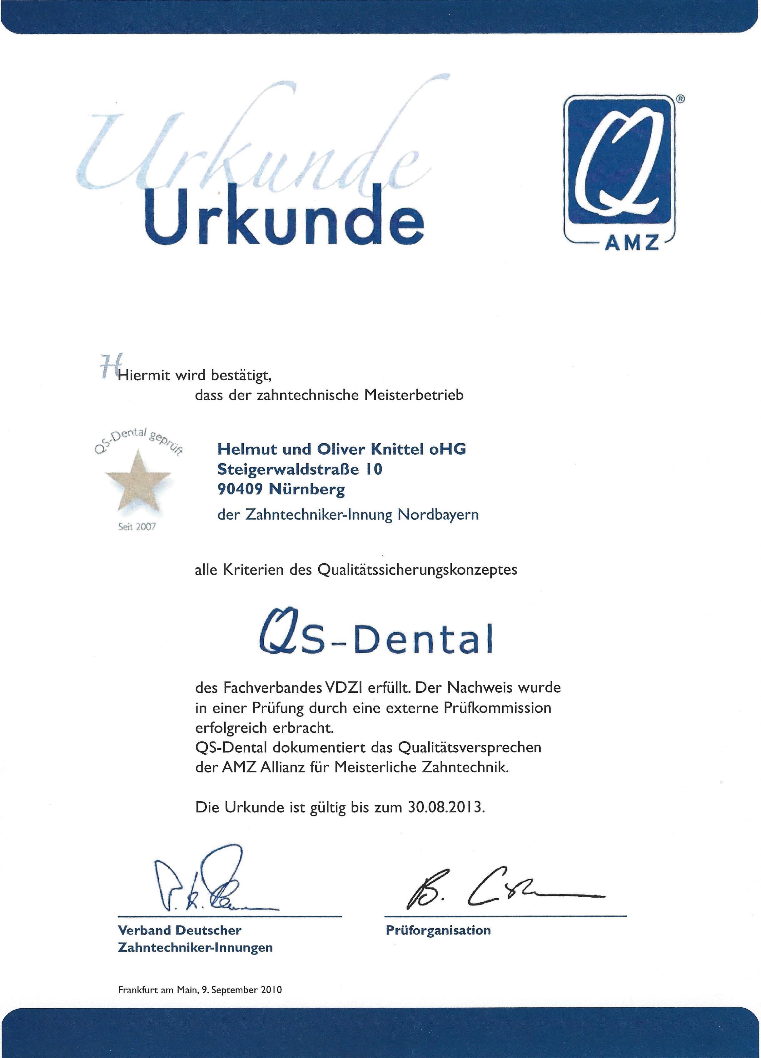 Zertifikat AMZ QS Dental
