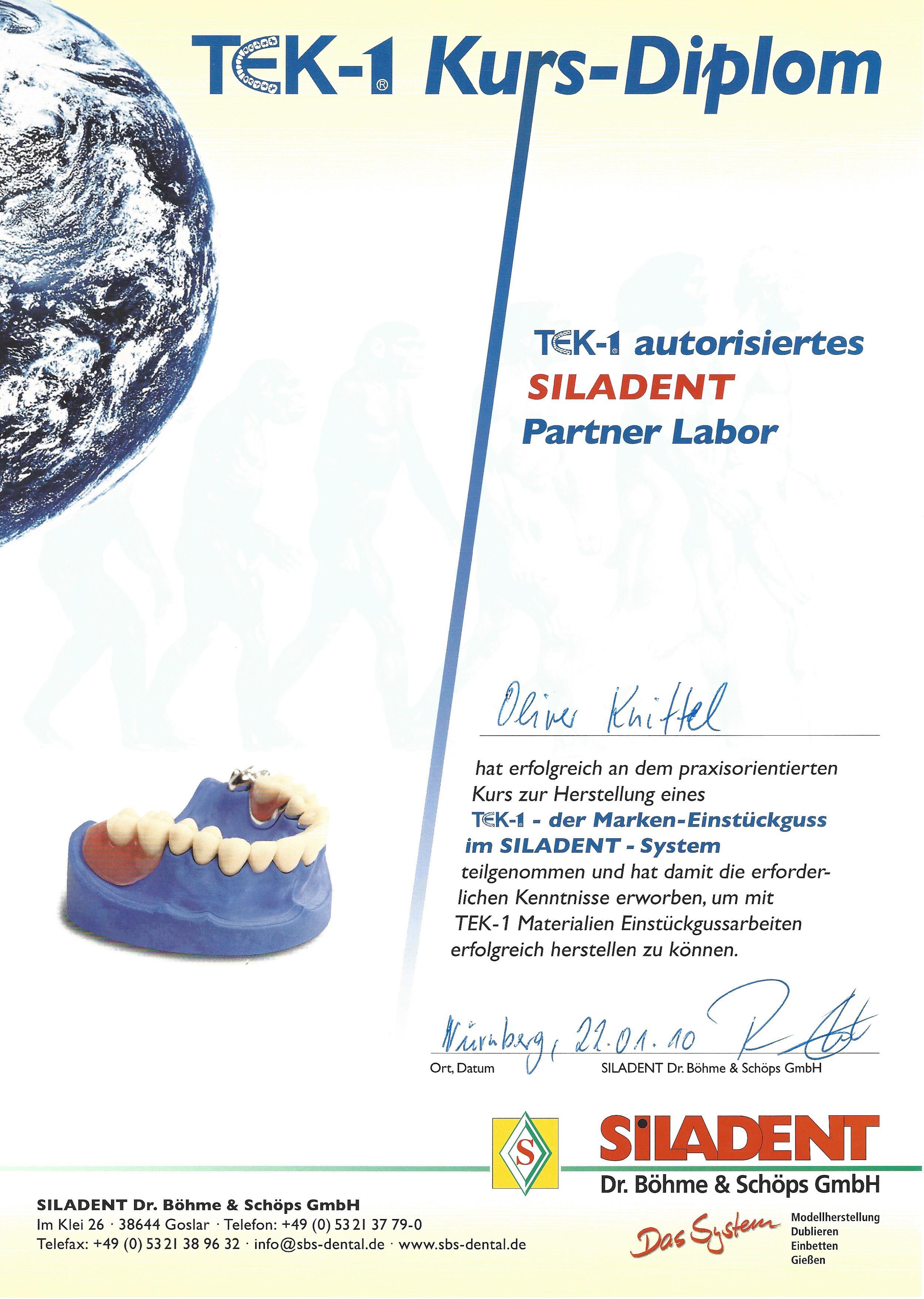 TEK-1 Zertifikat